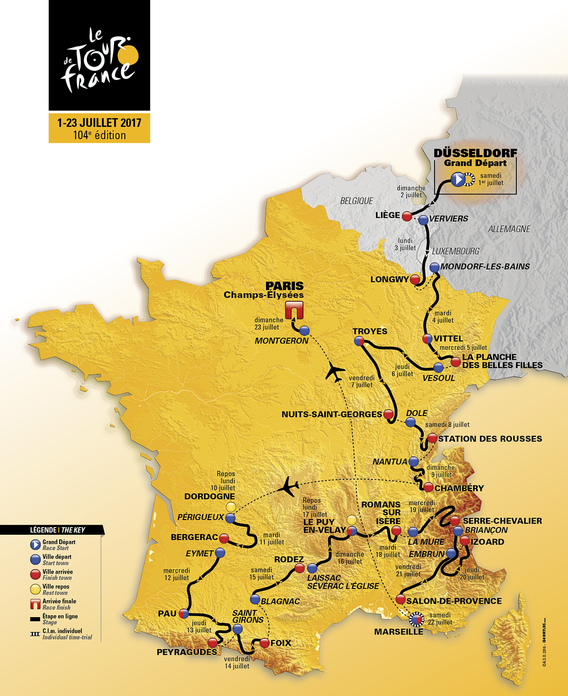 Tour de France 2017 :Le parcours